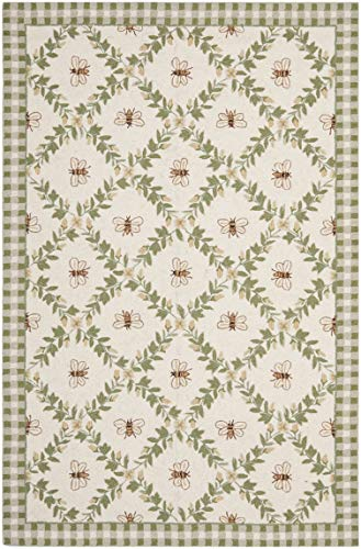 Safavieh Chelsea Collection HK55A Hand-Hooked Ivory and Green Premium Wool Area Rug 5 3 x 8 3