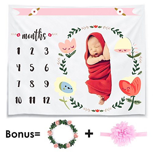 Cavn Monthly Baby Milestone Blanket Photo Props Shoots Backdrop For Newborn Boy Girl  Headband And Frame Included   Reusable Infant Baby Swaddling Blanket For Photography  New Mom Baby Shower Gifts