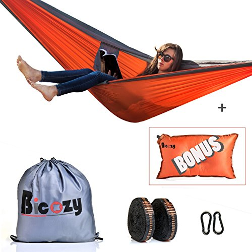 Bicozy Double Camping Hammock, Lightweight 1.1 Lbs Parachute Nylon. Two Person Hammocks Inflating Pillow Traveling Made Easy Backpacking Hiking Gear W Tree Straps Carabiners for Indoor Out