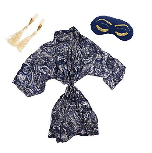 Amazon.com  Navy Blue Paisley Kimono Robe Gift Set with Sleep Eye Mask and  Earplugs  Handmade cfd8928e9