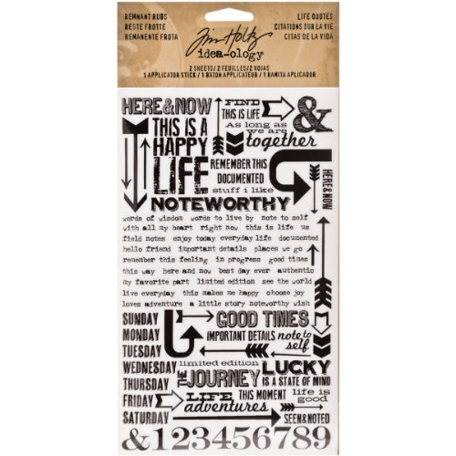 (Life Quotes Remnant Rubs by Tim Holtz Idea-ology, 5 x 7 Inch, 2 Sheets, Black/White, TH93120)