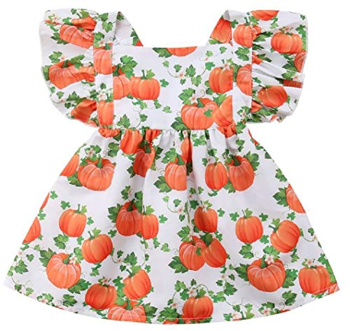 Toddler Little Girls Halloween Pumpkin Print Dress Toddler Ruffle Printed Princess Dress (1-2 Years, White)