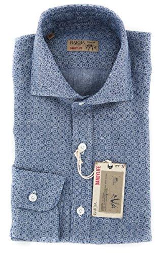 Barba Napoli Blue Patterned Button Down Cutaway Collar Linen Slim Fit Dress Shirt, Size x-Small 15 Barba Napoli Linen Shirt