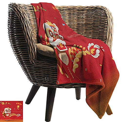 Flowering Trunk (Anshesix Super Soft Blankets Chinese New Year Little Boy Performing Lion Dance with The Costume Flowering Branch Lantern W30 x L50 Inch Suitable for Traveling,Hiking,Camping,TV,Cabin)