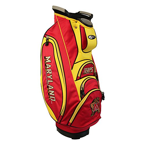 Team Golf NCAA Maryland Terrapins Victory Golf Cart Bag, 10-way Top with Integrated Dual Handle & External Putter Well, Cooler Pocket, Padded Strap, Umbrella Holder & Removable Rain ()