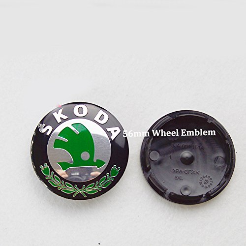 Hanway green 56mm skoda Car Wheel Emblem Cap Auto Wheel Center Cover Logo Label For Skoda Octavia/Superb/Fabia/Roomster/Yeti