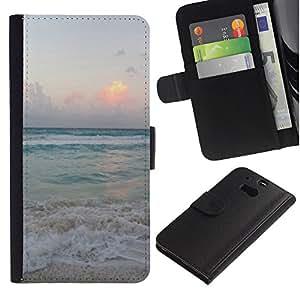 HTC One M8 Modelo colorido cuero carpeta tirón caso cubierta piel Holster Funda protección - Sand Summer Sunset Sunrise Ocean
