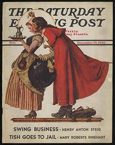 SATURDAY EVENING POST Norman Rockwell COVER ONLY 12/19 1936 costumes & mistletoe -