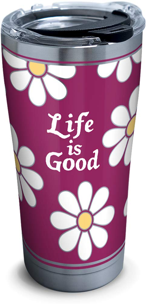 Tervis 1302580 Life is Good - All Over Stainless Steel Insulated Tumbler with Clear and Black Hammer Lid, 20 oz, Silver