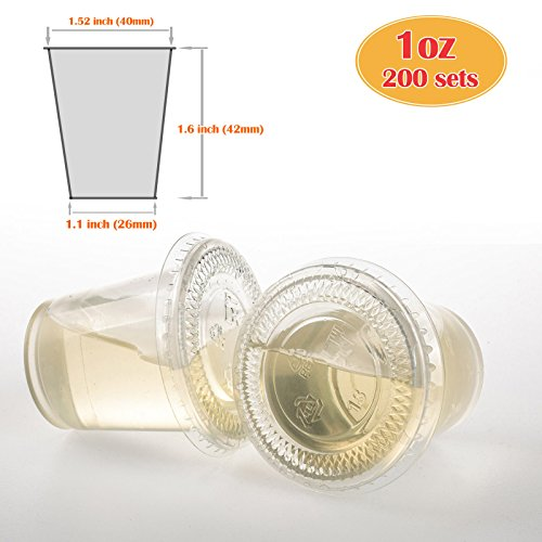 GOLDEN APPLE, 1-Ounce Clear Plastic Jello Shot Souffle Cups with Lids, Sampling Cup (200 Sets)