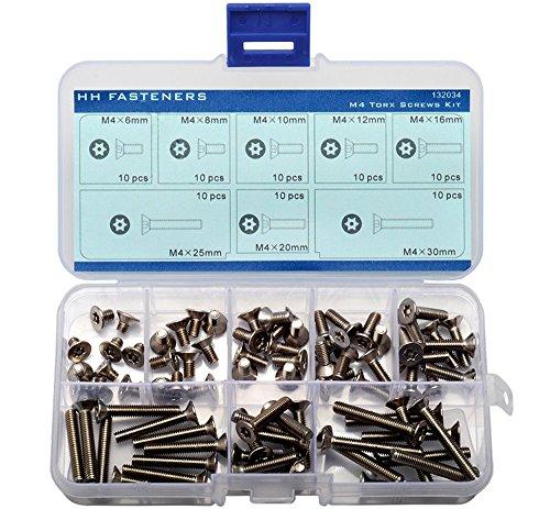 M4 Tamper-Resistant Security Screws Flat Head Assortment Kit, Pack of 80-piece