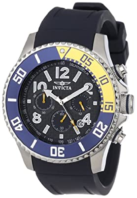 Invicta Men's 13728 Pro Diver Chronograph Carbon Fiber Dial Dark Blue Polyurethane Watch