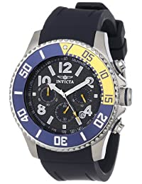 Invicta 13728 Men's Pro Diver Blue & Yellow Bezel Carbon Fiber Black Dial Chronograph Watch