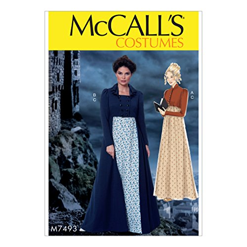 McCall's Patterns M7493 A5 Cropped Jacket, Floor-Length Coat and A-Line, Square-Neck Dress, Size 6-14 (7493)
