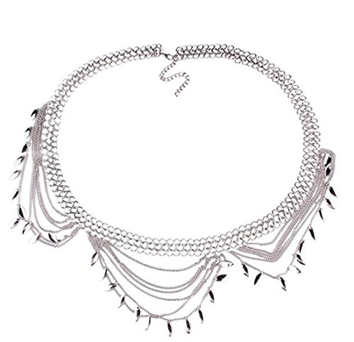 Andyle Dangle Coin Belt Dance Tassel Adjustable Waist Chain Belt Gypsy Bohemian For Women (Style2 (Silver)) by Andyle