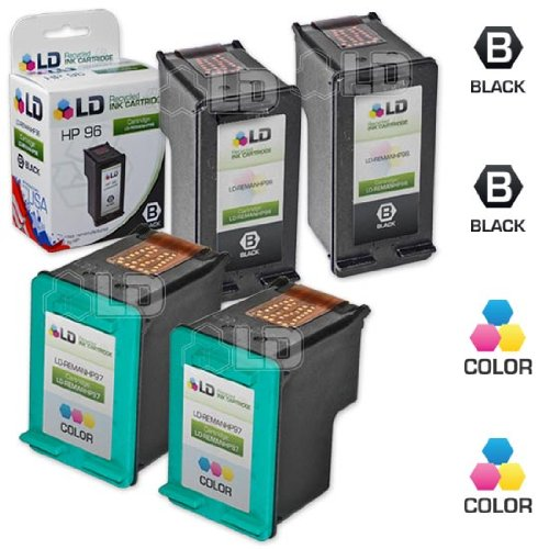 LD Remanufactured Replacements for HP 96 / C8767WN Black & HP 97 / C9363WN Color Set of 4 High Yield Ink Cartridges (2 Black & 2 (C9363wn Color Ink)