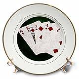 3dRose Alexis Photo-Art - Poker Hands - Poker Hands Flush Diamonds - 8 inch Porcelain Plate (cp_270314_1)