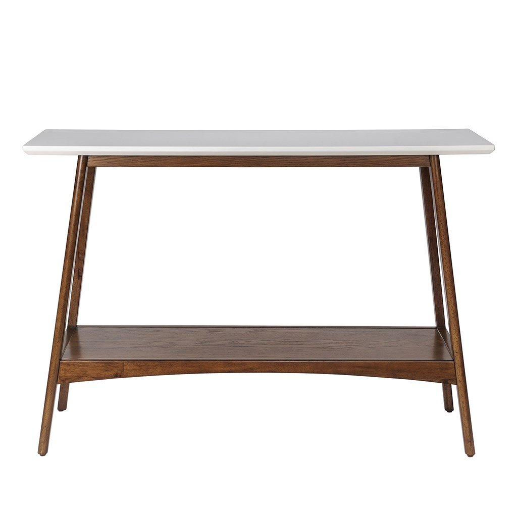 Amazon com mid century modern console sofa entryway table in white and pecan wood finish kitchen dining