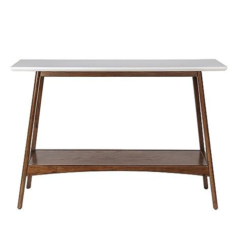 Brilliant Mid Century Modern Console Sofa Entryway Table In White And Pecan Wood Finish Creativecarmelina Interior Chair Design Creativecarmelinacom
