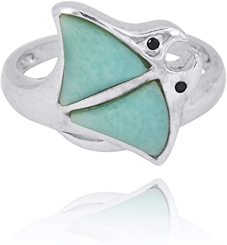 NRG 316L Jewelry 925 Sterling Silver Ring with Genuine Larimar AA Stone