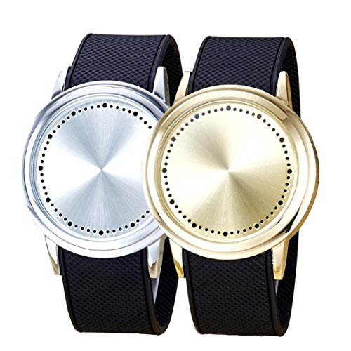 2 x watch,Siviki2018 Fashion Couple Touch Screen Circular Pattern Silicone Band LED Wrist Watch (Silver+Gold)