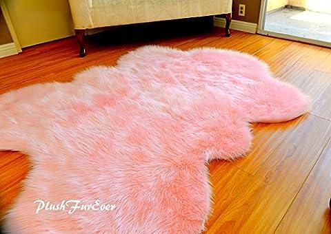 Fur Decors Nursery Room Area Sheepskin Rug Baby Girl Accents Plush Shaggy Handmade (5' x 6' feet) (Fox Fur Rug)