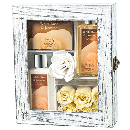 (Relaxing White Rose and Jasmine Bath Body Set, Complete Bath Relaxation Kit With Lotion, Shower Gel, Bath Salts, Rose Soaps Bath Gift Set in Distressed White Wood Curio)