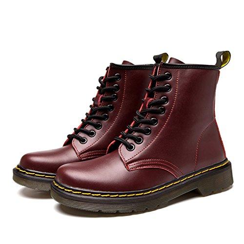homme Femme Sans classiques Lacets bottines Cuir Botte 2 Chaudes Hiver Impermeables Bottes Chaussures Martin Doublure Fourrées Ukstore Plates rouge boots w5t7aOw