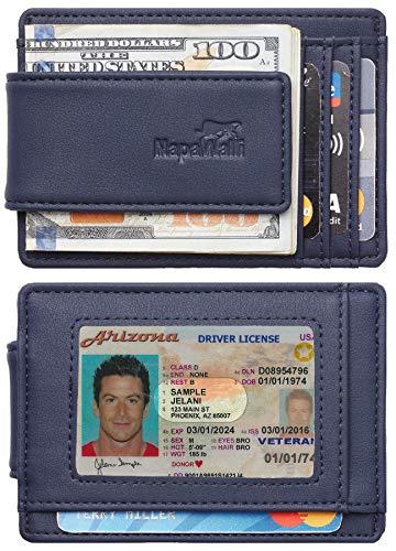 Toughergun Genuine Leather Magnetic Front Pocket Money Clip Wallet RFID Blocking (ReNappa Blue)