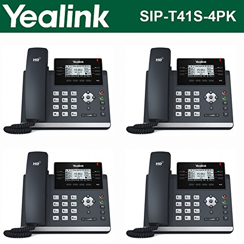 Yealink [4-Pack] T41S IP Phone, 6 Lines. 2.7-Inch Graphical LCD. Dual-Port Gigabit Ethernet, 802.3af PoE, Power Adapter Not Included (SIP-T41S-4) (Ports Sip Phone)