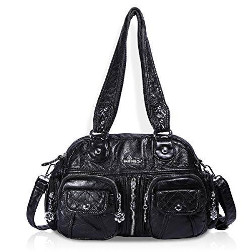 (Angel Barcelo Womens Soft Leather Handbags and Purses Casual Pockets Shoulder Bag Top-handle Tote Bags with Zipper Black)