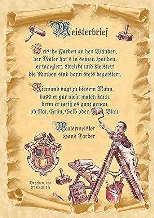 Meisterbrief Maler Mit Gedicht A4 210297 Mm Amazonde