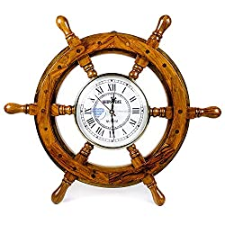 Nagina International Nautical Handcrafted Wooden Premium Wall Decor Wooden Clock Ship Wheels   Pirate's Accent   Maritime Decorative Time's Clock (30 Inches, Clock Size - 5 Inches)