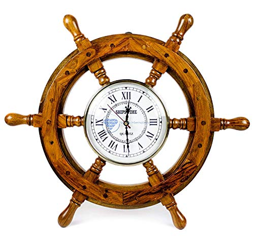 Nagina International Nautical Handcrafted Wooden Premium Wall Decor Wooden Clock Ship Wheels Pirate s Accent Maritime Decorative Time s Clock 30 Inches, Clock Size – 10 Inches