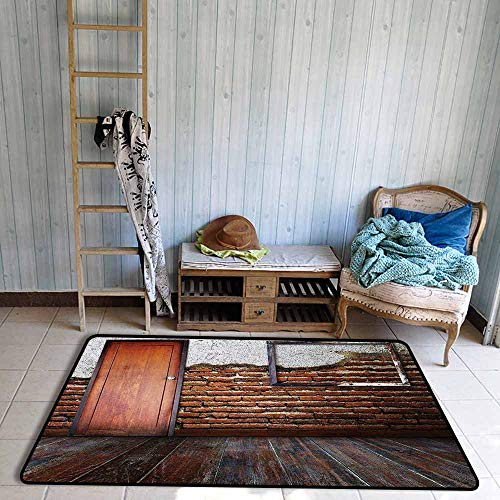Barcelona Frame Futon - Children's Rugs Playrug Rugs Antique Picture Frame on Damaged Brick Wall Aged Old Room Rustic Wooden Floor Anti-Fading W59 xL82.5 Dark Orange Brown White