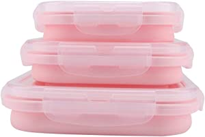 Portable Silicone Lunch Box Set Folding Microwave Safe Lunch box Food Container 500/800/1200mL (Pink)
