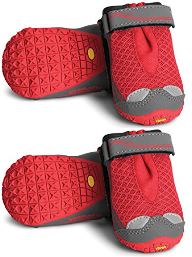 RUFFWEAR Grip TREX Dog Boots All Terrain PAW Protection Colors Set of 4 (2.25-Inch, New Red - Grip Booties T-rex