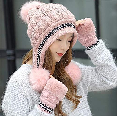 Pompom Hats Tres Hecho Gorras Knit Elasticidad Niñas Bolas Sombrero Calor con Hat Mujeres Punto Guantes Lindo Invierno rosado Beanie Sombreros Set qUfg1PEfW