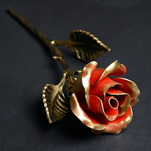 Metal Rose - 11th / 6th Year Wedding Anniversary Gift for Her / Red Iron Rose Steel Rose