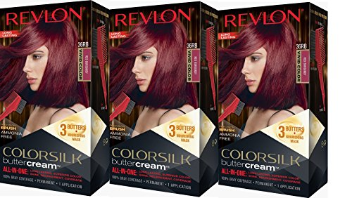 Revlon Colorsilk Buttercream Hair Dye, Vivid Red Burgundy, 3 Count