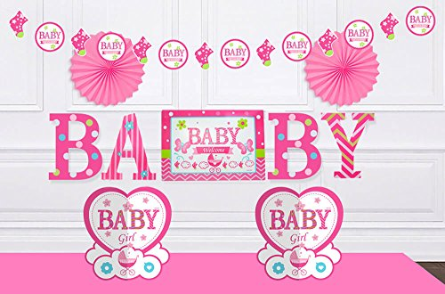 Baby Shower Decorations for Boys or Girls - Newborn Party Decorations | It's a Boy & It's a Girl Garland, Paper Fan Decorations, Table Centerpieces, Baby Wall Stickers | Blue & Pink Options (Pink)]()