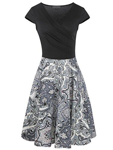 Women V Neck Dress Short Sleeve Knee Length Dresses Ladies Casual A-Line Dress ()