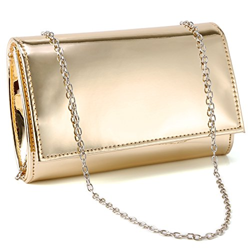 Fraulein38 Shiny High-Gloss Patent Leather Prom Clutch Women Handbag Shoulder Bag
