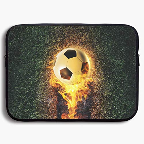 Laptop Sleeve Bag Cool Soccer with Fire Briefcase Sleeve Bags Cover Notebook Case Waterproof Computer Portable Bagsa