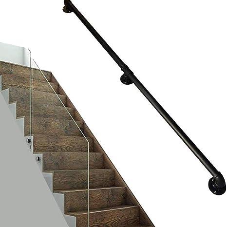 Montado en la pared circular de la escalera Barandilla, escalera Negro Pipe antideslizantes Barandilla Con 2 soportes de montaje en pared, esquina redonda, conveniente para pasillo de acceso: Amazon.es: Deportes y aire