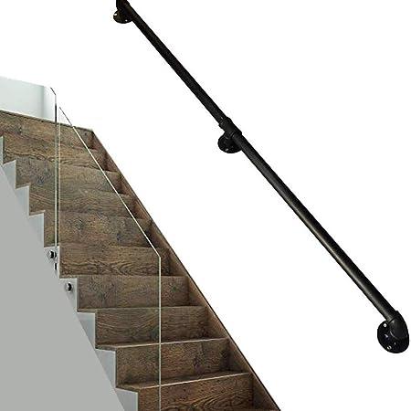 MYPNB Barandillas Barandilla de la Escalera barandilla pasamanos, escaleras Negro Pipe Antideslizante Barandilla con 2 Montaje en Pared Admite, Esquina Redonda, Negro rústico (Size : 50cm): Amazon.es: Hogar