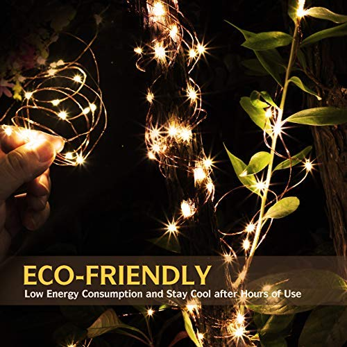 4 Pack 100 LED String Lights Battery Operated Fairy Lights 33ft 2018 Upgraded Waterproof 8 Modes Remote Control Timer Copper Wire Firefly Lights for Patio Bedroom Wedding Christmas Decor Warm White by SHINE HAI (Image #3)