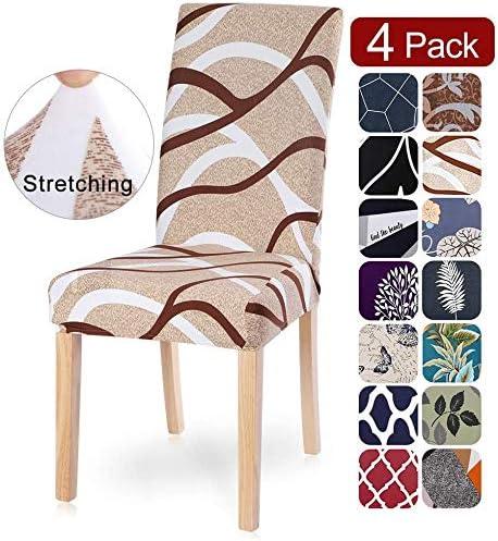 Fundas de Silla de Comedor Elásticas y Modernas, Extraíbles y Lavables, Fundas de Licra para sillas Altas 4 Piezas Fundas Protectoras para sillas (Pack de 4): Amazon.es: Hogar