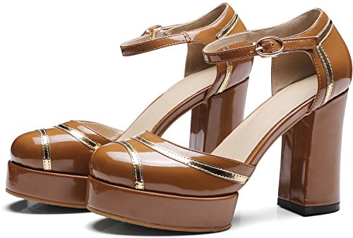 Calaier Women Salcs Closed-Toe 10CM Block Heel Buckle Sandals Shoes Brown Tqa7htrY