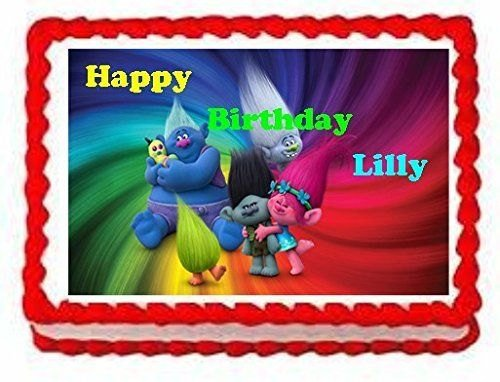 Trolls Edible Personalized Cake Topper
